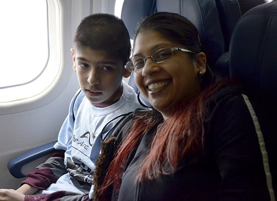 Families took their seats on the plane