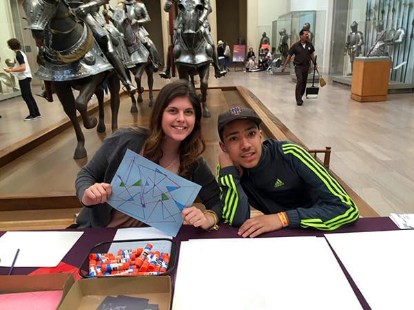 Art Teacher, Priscilla Palmieri, with AHRC Middle High School student, Ricardo Montanez, at Teens Take the Met